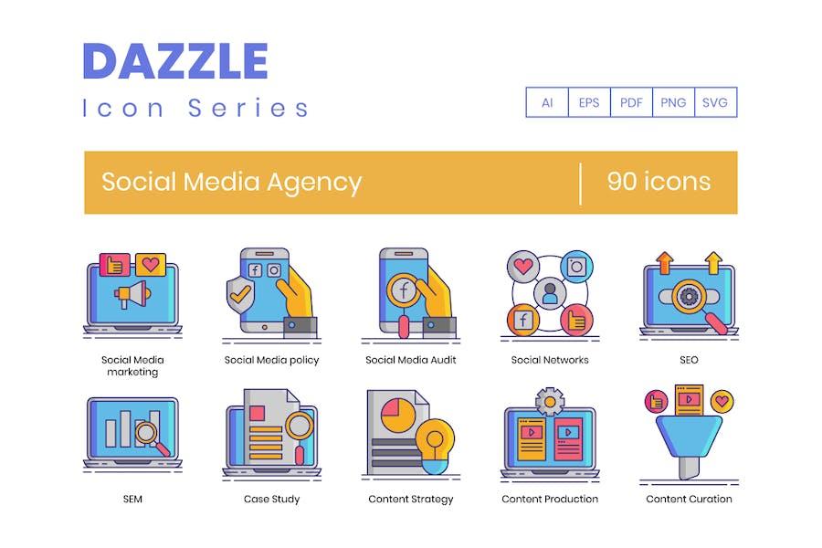 90 Social Media Agentur -LinienIcons