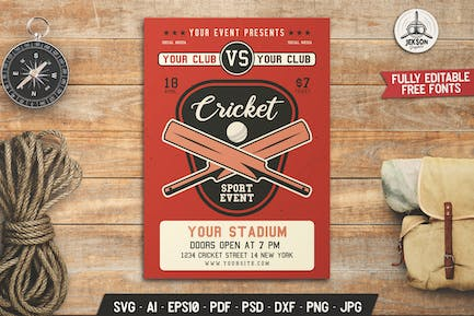 Cricket Party Flyer. Sports Poster Template