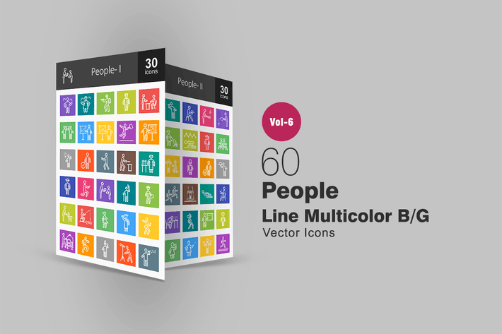 Thumbnail for 60 People Line Multicolor B/G Icons