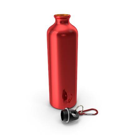 Opened Lightweight Red Aluminum Water Bottle