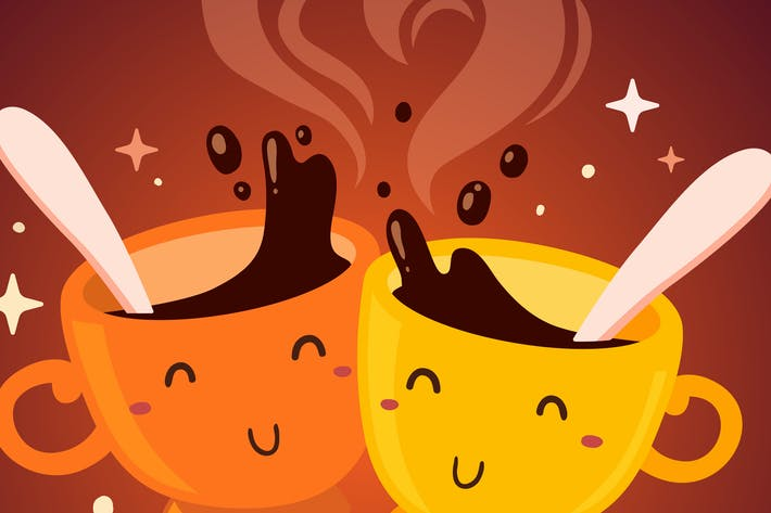 Thumbnail for Coffee time with smiling cups of coffee