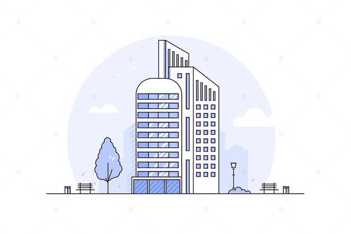 Thumbnail for Urban landscape - line design style illustration