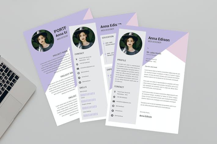 Thumbnail for CV Purple Resume Designer
