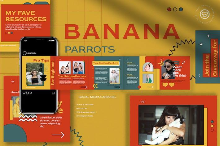 Thumbnail for Banana Parrots Instagram Carousel