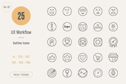 UX Workflow Outline Icons - Volume 02