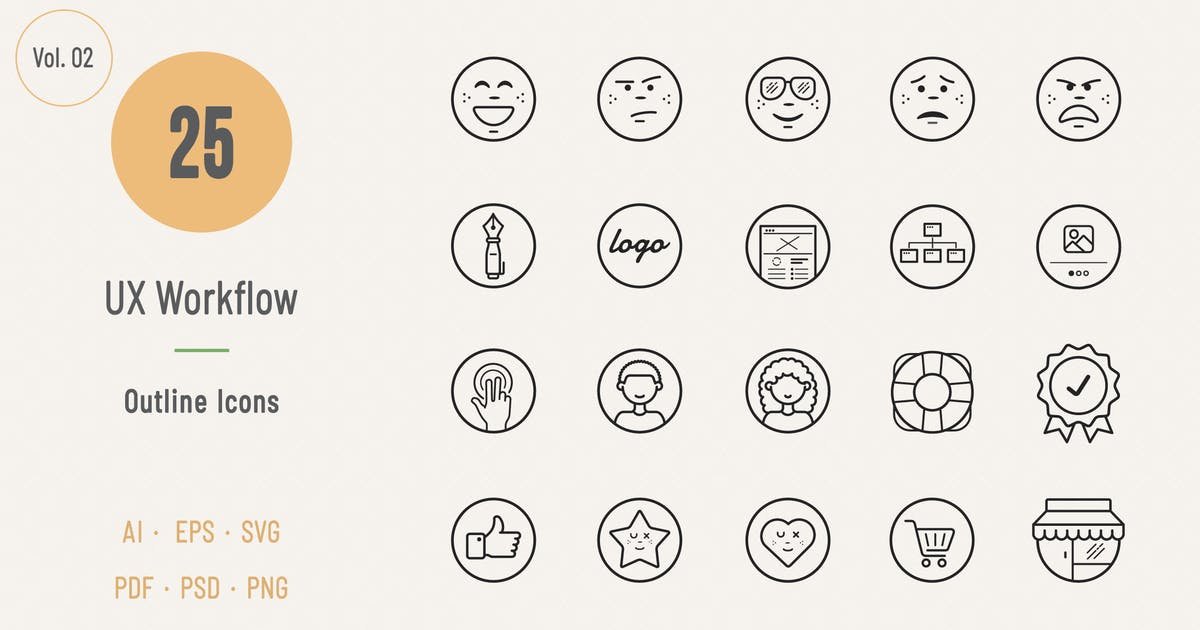 Download UX Workflow Outline Icons - Volume 02 by Sargatal