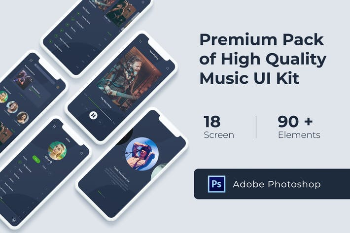 Thumbnail for Music Audio Play App UI KIT for Photoshop