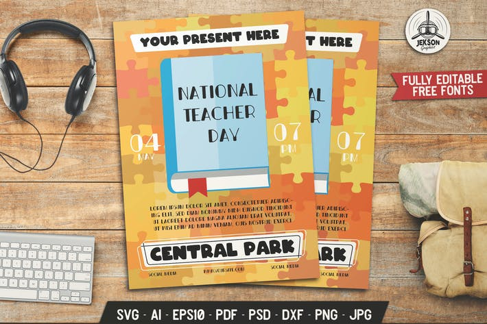 National Teacher's Day Flyer Template