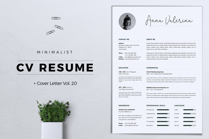 Thumbnail for Minimalist CV Resume Vol. 20