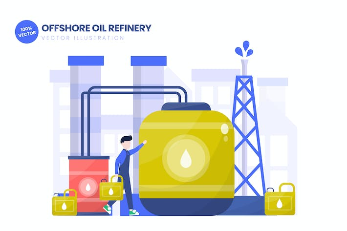 Thumbnail for Offshore Oil Refinery Flat Vector Illustration