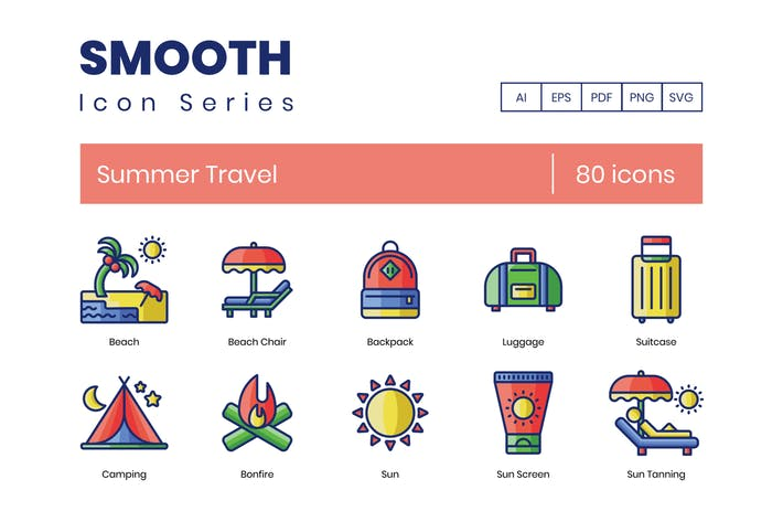 Thumbnail for 80 Summer Travel Icons | Smooth Series