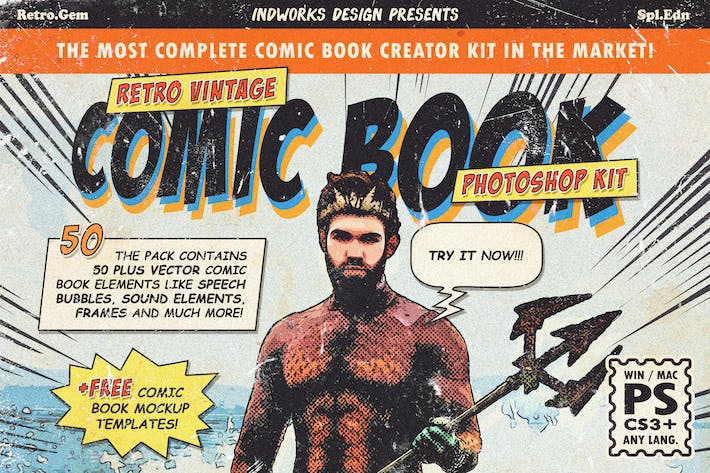 Thumbnail for Retro Comic Book Photoshop Action Kit