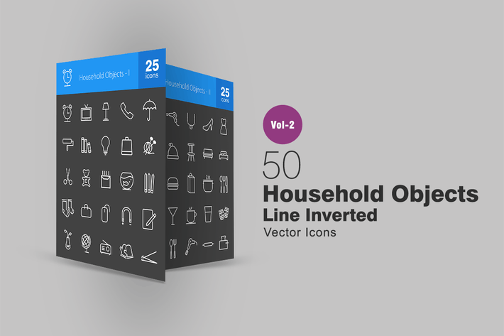 50 Household Objects Line Inverted Icons