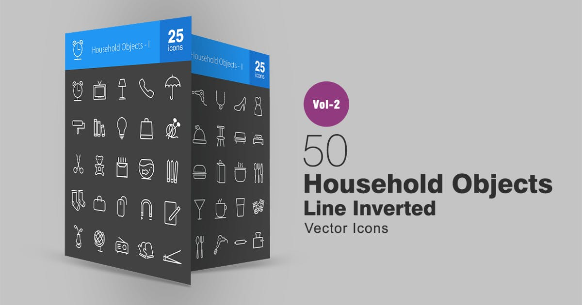 Download 50 Household Objects Line Inverted Icons by IconBunny