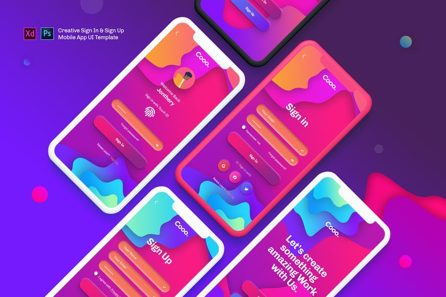 Coo. - Sign In & Sign Up  Mobile App UI Template