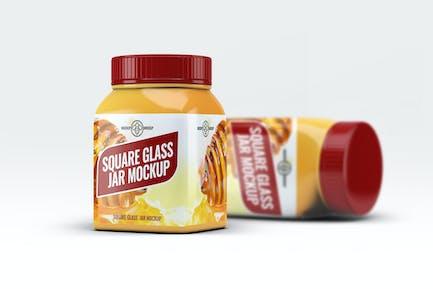 Square Glass Jar Mock-Up