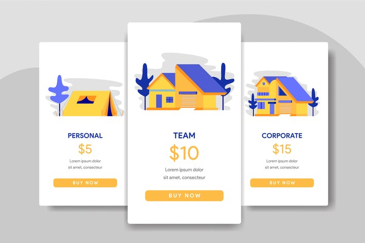 Thumbnail for Pricing Table Comparison Illustration with House