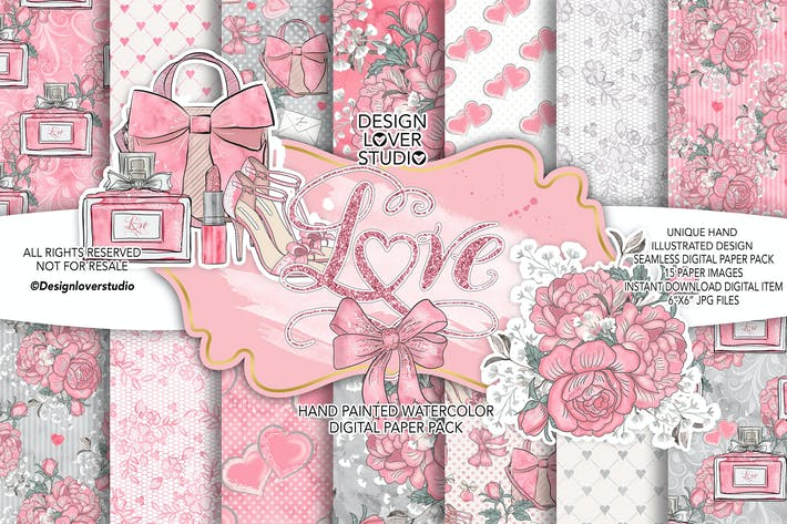 Thumbnail for Loving Heart digital paper pack