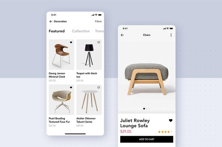 Thumbnail for Modern Furniture Mobile App UI Kit