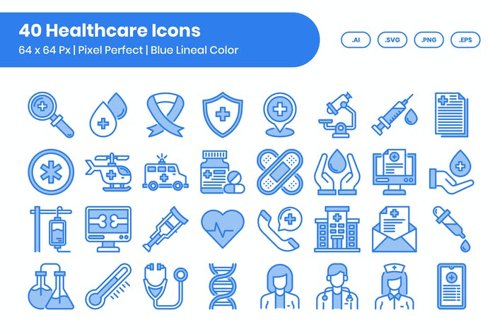 40 Healthcare Icons Set - Blue Lineal Color