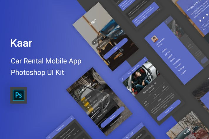 Thumbnail for Kaar - Alquiler de coches Photoshop UI Kit