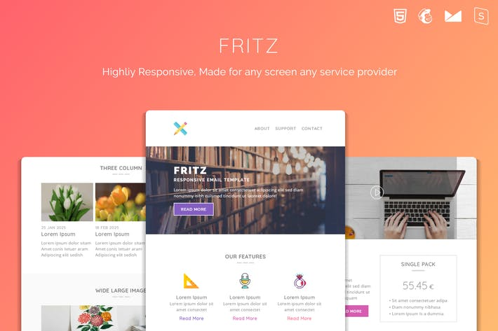 Thumbnail for Fritz Responsive Multipurpose Email Template