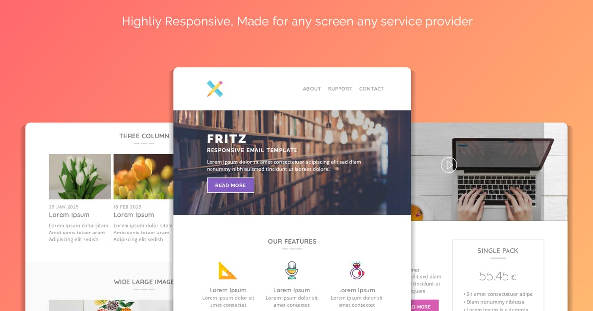 Fritz Responsive Multipurpose Email Template by Avagon