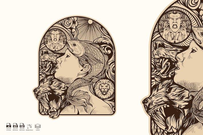 Thumbnail for Frau Fisch Illustration