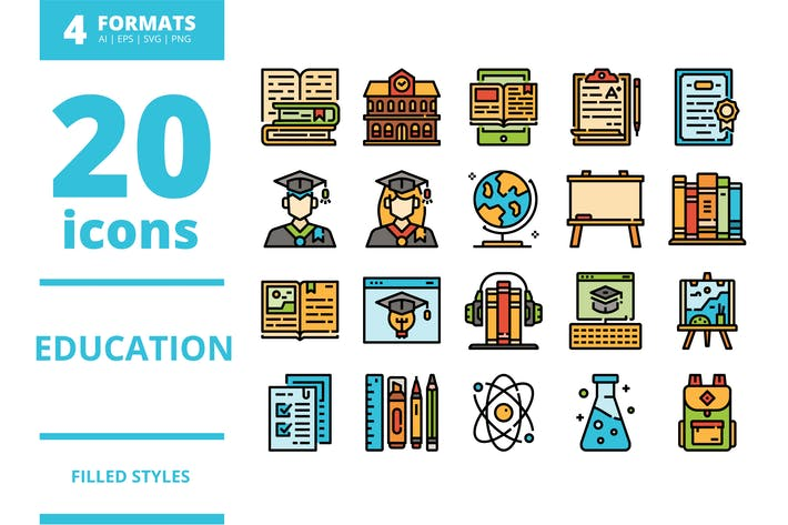 Thumbnail for Education Filled icons packs