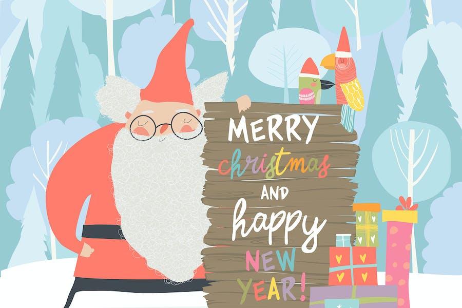 Weihnachtsmann feiert Weihnachten. Vektor illustra