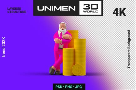 Businessman 3D Rich man Standing with Coins Money