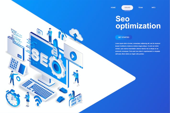 Cover Image For Seo Optimization Isometric Concept