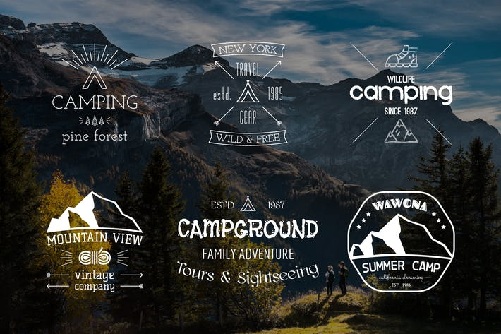 Thumbnail for Outdoor Retro Camping Badges and Logos