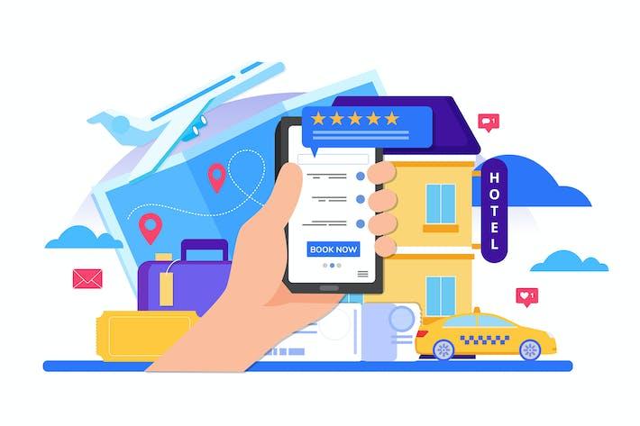 Online-Buchung Design-Konzept für Mobiltelefon