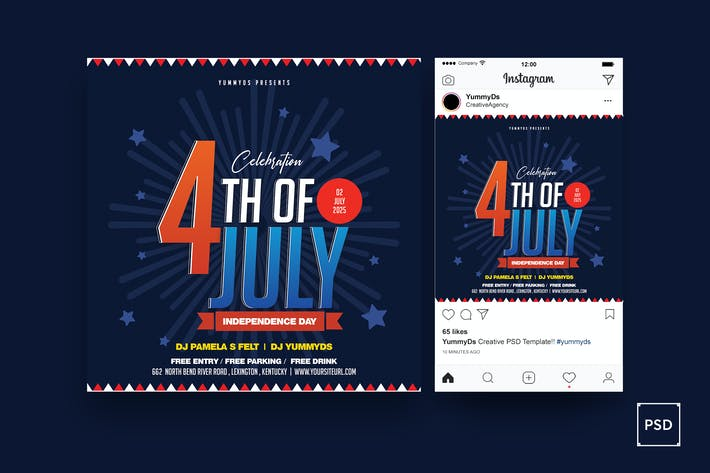 4th Of July Square Flyer & Instagram Post