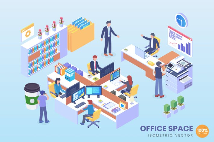 Thumbnail for Isometric Office Space Vector Concept