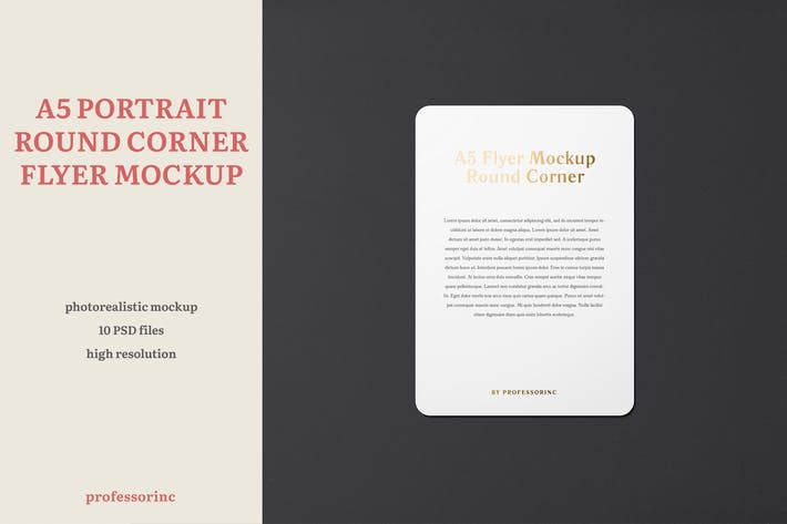 Thumbnail for A5 Portrait Flyer Mockup — Round Corners