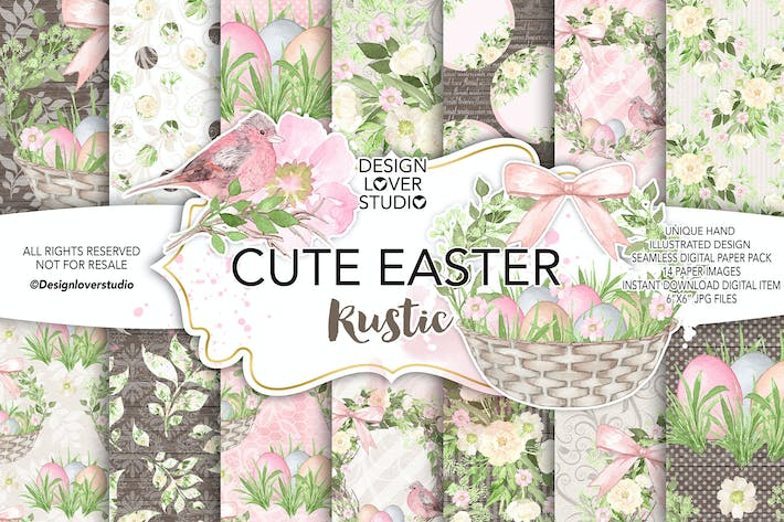 Thumbnail for Watercolor Cute easter digital paper pack 1