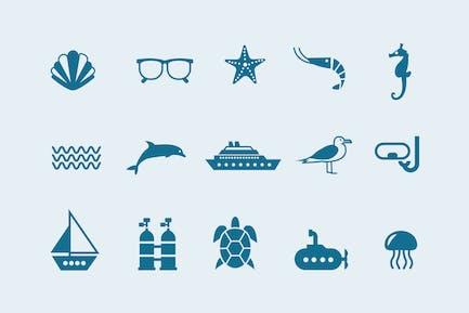 15 Íconos Mar y el océano