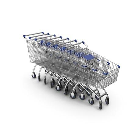 Linie von Einkaufswagen mit blauem Kunststoff