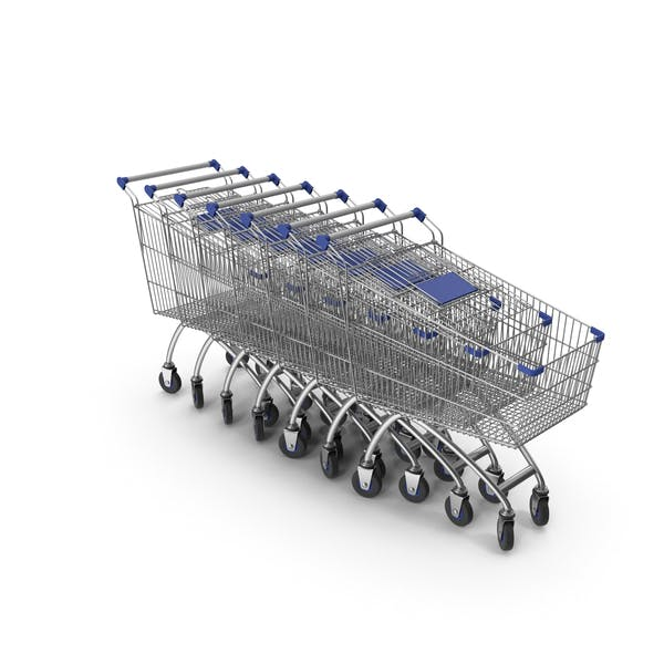Line Of Shopping Carts with Blue Plastic