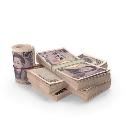 Kleiner Haufen japanischer Yen-Stacks