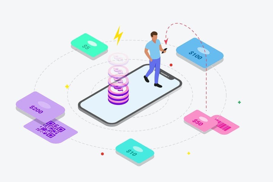 Recharge Phone by Digital Wallet Isometric