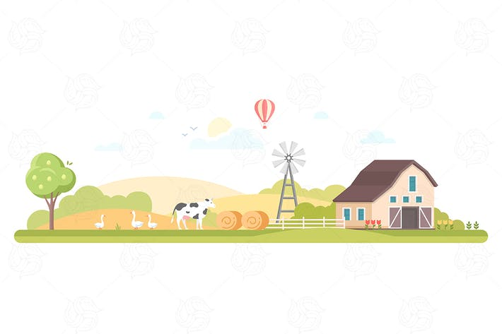 Thumbnail for Rural landscape - flat design style illustration