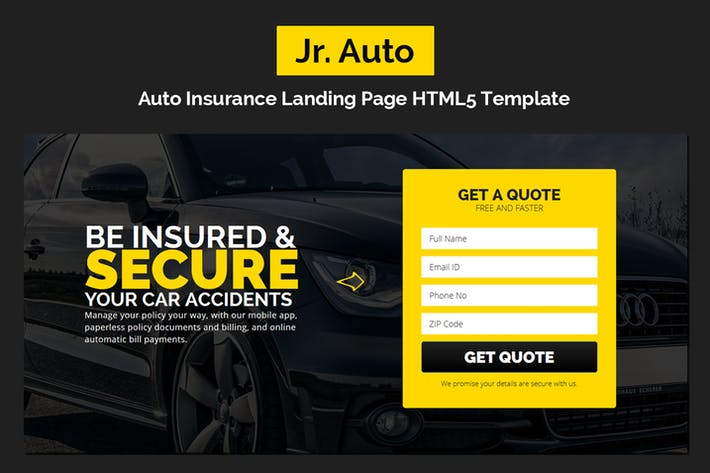 Thumbnail for Jr. Auto Insurance Landing Page - Responsive HTML5