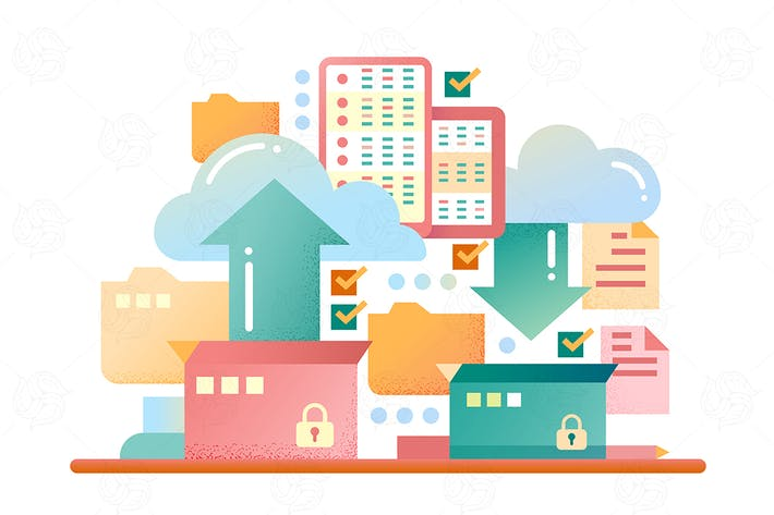 Thumbnail for Cloud data storage - flat design illustration