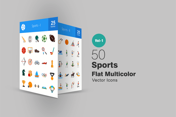 Thumbnail for 50 Sports Flat Multicolor Icons