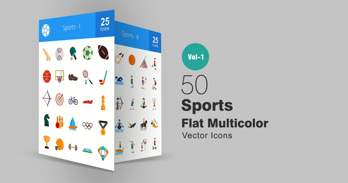 Download 50 Sports Flat Multicolor Icons by IconBunny