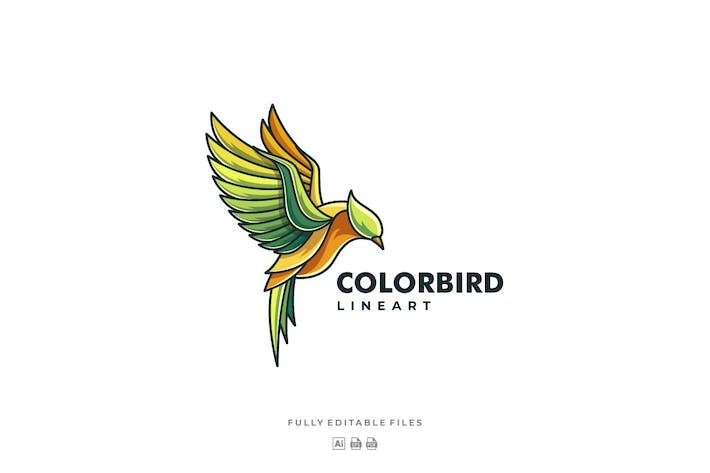 Cover Image For Bird Color Line Art Logo