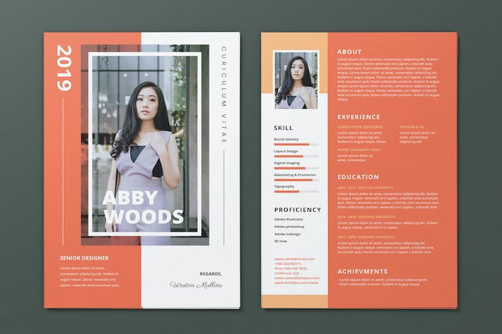 Thumbnail for Clean Minimalist CV Resume AI and PSD Flyer Vol.28